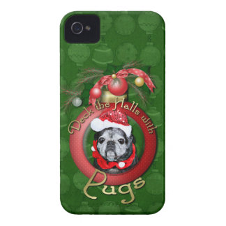 Christmas - Deck the Halls - Pugs - Angel Case-Mate iPhone 4 Case
