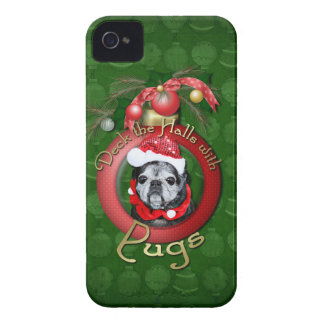 Christmas - Deck the Halls - Pugs - Angel iPhone 4 Case-Mate Case
