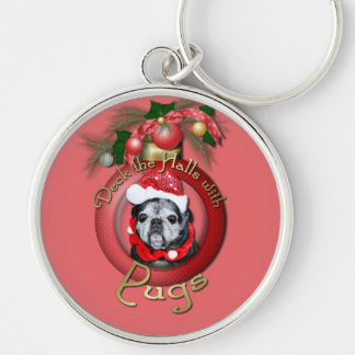 Christmas - Deck the Halls - Pugs - Angel Keychain