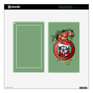 Christmas - Deck the Halls - Pugs - Angel Kindle Fire Decals