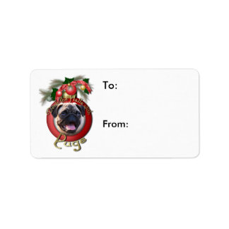Christmas - Deck the Halls - Pugs Personalized Address Label