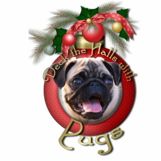 Christmas - Deck the Halls - Pugs Acrylic Cut Outs
