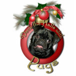 Christmas - Deck the Halls - Pugs - Ruffy Photo Sculptures