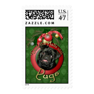 Christmas - Deck the Halls - Pugs - Ruffy Postage