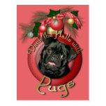 Christmas - Deck the Halls - Pugs - Ruffy Post Card