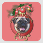 Christmas - Deck the Halls - Pugs Square Sticker