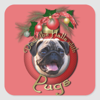 Christmas - Deck the Halls - Pugs Stickers