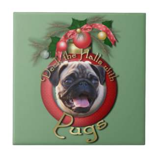 Christmas - Deck the Halls - Pugs Small Square Tile