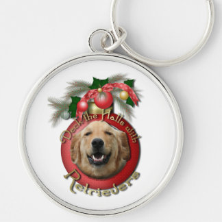 Christmas - Deck the Halls - Retrievers - Mickey Silver-Colored Round Keychain