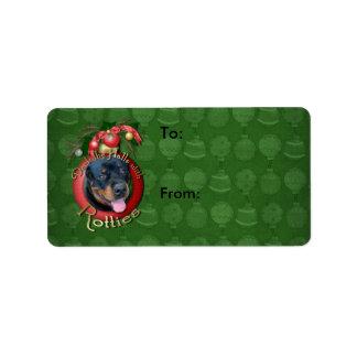 Christmas - Deck the Halls - Rotties - Harley Address Label