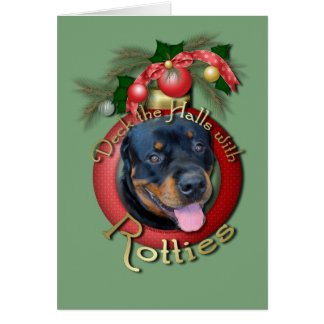 Christmas - Deck the Halls - Rotties - Harley Greeting Card