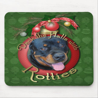 Christmas - Deck the Halls - Rotties - Harley Mouse Pads