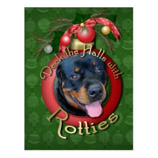 Christmas - Deck the Halls - Rotties - Harley Postcard