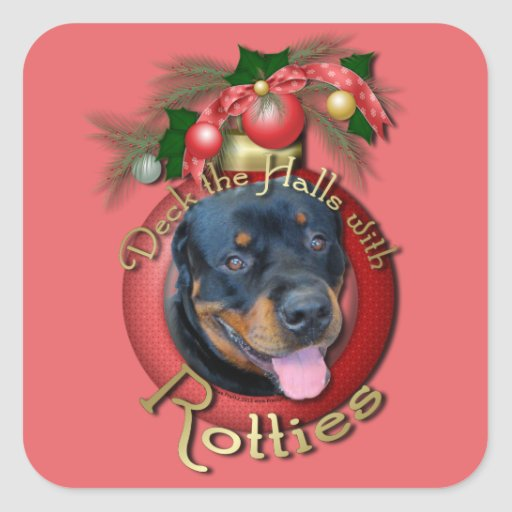 Christmas - Deck the Halls - Rotties - Harley Stickers