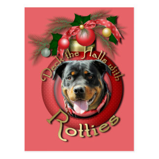 Christmas - Deck the Halls - Rotties - SambaParTi Post Cards