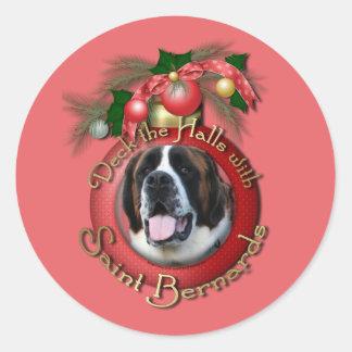 Christmas - Deck the Halls - Saint Bernards - Mae Classic Round Sticker