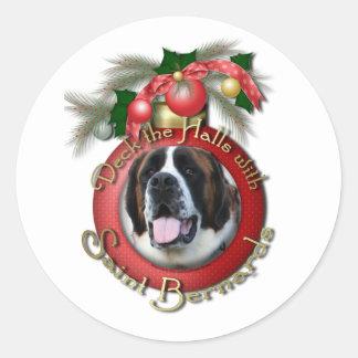 Christmas - Deck the Halls - Saint Bernards - Mae Round Sticker