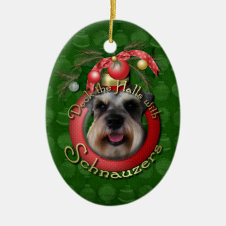 Christmas - Deck the Halls - Schnauzers Ceramic Ornament