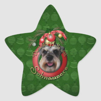 Christmas - Deck the Halls - Schnauzers Star Stickers