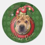 Christmas - Deck the Halls - Shar Peis Classic Round Sticker