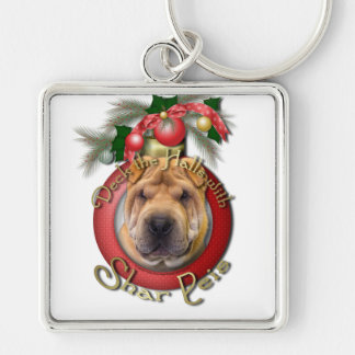 Christmas - Deck the Halls - Shar Peis Silver-Colored Square Keychain