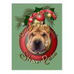 Christmas - Deck the Halls - Shar Peis Postcard