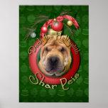 Christmas - Deck the Halls - Shar Peis Poster