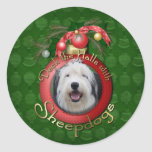Christmas - Deck the Halls - Sheepdogs Classic Round Sticker