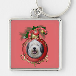 Christmas - Deck the Halls - Sheepdogs Silver-Colored Square Keychain
