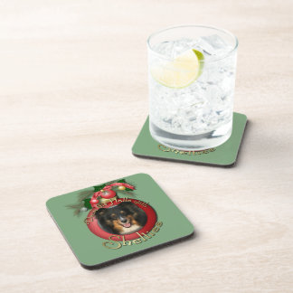 Christmas - Deck the Halls - Sheltie - Chani Beverage Coasters