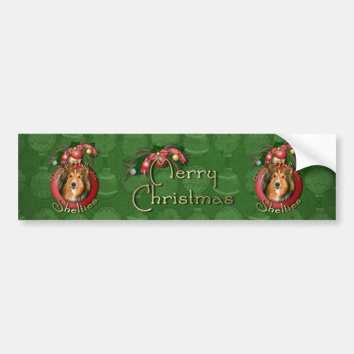 Christmas - Deck the Halls - Shelties Car Bumper Sticker