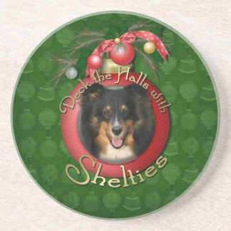 Christmas - Deck the Halls - Shelties - Chani Beverage Coasters