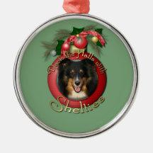 Christmas - Deck the Halls - Shelties - Chani Christmas Ornaments