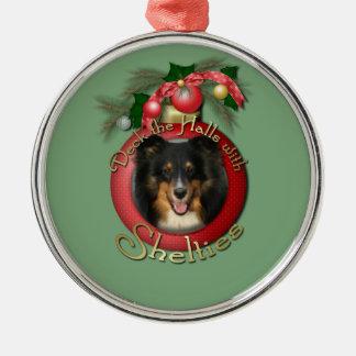 Christmas - Deck the Halls - Shelties - Chani Round Metal Christmas Ornament