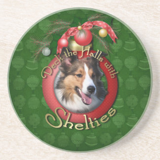 Christmas - Deck the Halls - Shelties Beverage Coasters