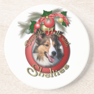 Christmas - Deck the Halls - Shelties Drink Coaster