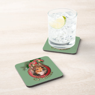 Christmas - Deck the Halls - Shelties - Cooper Drink Coasters