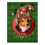 Christmas - Deck the Halls - Shelties - Cooper Post Card