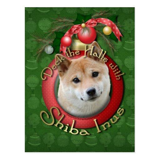 Christmas - Deck the Halls - Shiba Inu Postcard