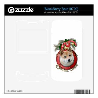Christmas - Deck the Halls - Shiba Inu BlackBerry Decal