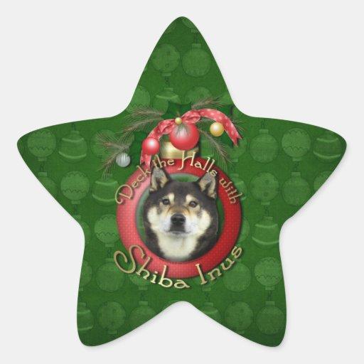 Christmas - Deck the Halls - Shiba Inus - Yasha Star Sticker
