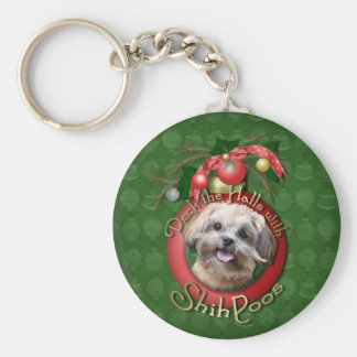 Christmas - Deck the Halls - ShihPoos - Maggie Basic Round Button Keychain