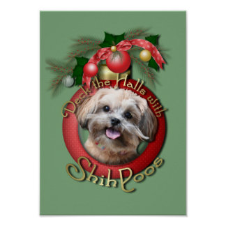 Christmas - Deck the Halls - ShihPoos - Maggie Poster
