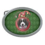 Christmas - Deck the Halls Springer Spaniel Baxter Oval Belt Buckles