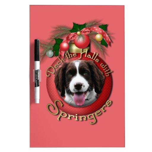 Christmas - Deck the Halls Springer Spaniel Baxter Dry-Erase Board