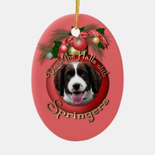 Christmas - Deck the Halls Springer Spaniel Baxter Christmas Ornaments