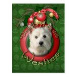 Christmas - Deck the Halls - Westies Post Cards