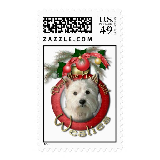 Christmas - Deck the Halls - Westies Stamp