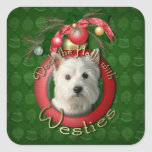Christmas - Deck the Halls - Westies Square Stickers