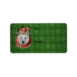 Christmas - Deck the Halls - Westies - Tank Custom Address Labels